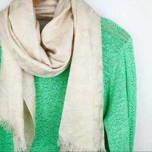 Coach signature c logo silk/wool wrap scarf ivory
